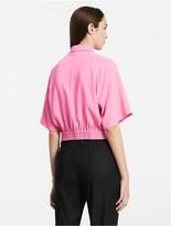 Calvin Klein Platinum Viscose Stretch Wide Sleeve Top