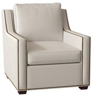 "Bradington-Young Ward 34.5"" W Club Chair Body Fabric: Milestone White, Leg Color: Mahogany, Nailhead Detail: French Natural 7/16 Inch, Cushion Fill: H"