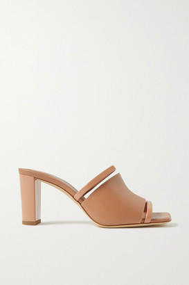 Malone Souliers Demi 70 Cutout Patent-trimmed Leather Mules - Beige