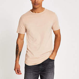 River Island Stone curved hem longline T-shirt