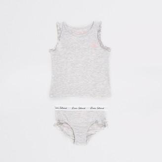 River Island Mini girls Grey unicorn printed vest outfit