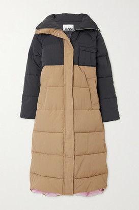 Ganni Convertible Color-block Quilted Padded Shell Coat - Beige