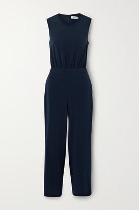 Diane von Furstenberg Waverly Cropped Cutout Crepe Jumpsuit - Navy