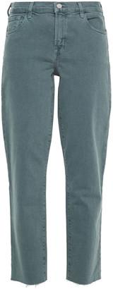 J Brand Frayed Mid-rise Straight-leg Jeans