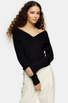 Topshop Womens Black Wide Directional V Knitted Jumper - Black