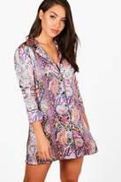 boohoo Keira Paisley Satin Contrast Piping Night Shirt