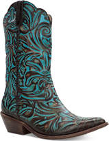 Patricia Nash Bergamo Turquoise Tooled Western Mid-Shaft Boots Women's Shoes