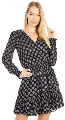 MICHAEL Michael Kors Ruffle Wrap Dress (Black/Silver) Women's Dress
