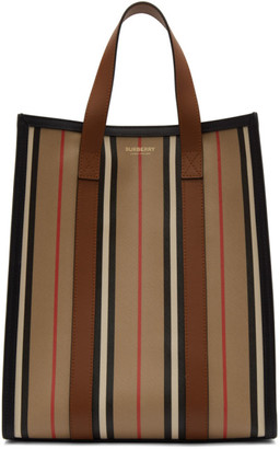 Burberry Beige and Multicolor Small Striped Canvas Tote