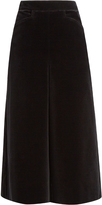Saint Laurent High-waisted wide-leg velvet culottes
