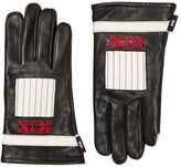 Kokon To Zai Two Tone Embroidered Leather Gloves