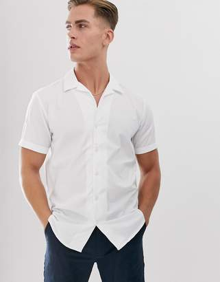Selected cuban shirt in 100% BCI cotton-White