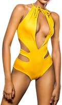 Moxeay Sexy Padding Hollow V Neck Bangage Swimsuit One Piece Bikini