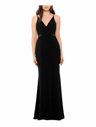 Xscape Evenings Womens Black Spaghetti Strap V Neck Full-Length Sheath Evening Dress Juniors UK Size:12