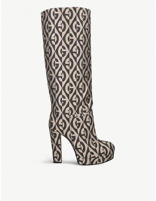Gucci Britney logo-pattern platform fabric boots