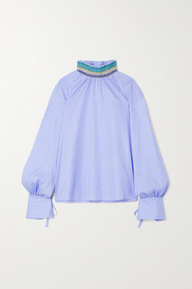 Wales Bonner Palms Smocked Pinstriped Cotton Blouse - Light blue
