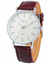 Mix&Rock Simple Casual Women Lady Girl Coffee Leather White Dial Sport Quartz Wrist Watch