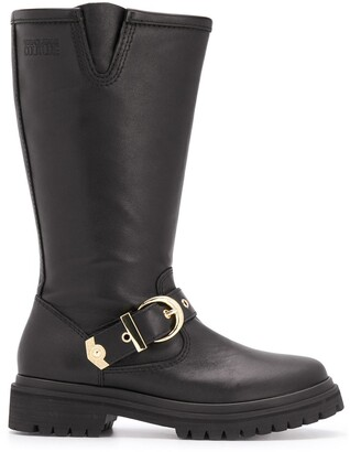 Versace Buckle Strap Boots