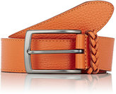 Barneys New York Men's Braided-Keeper Calfskin Belt-ORANGE
