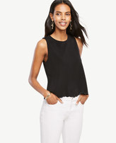 Ann Taylor Scalloped Crepe Shell