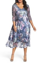 Komarov Plus Size Women's Lace & Charmeuse Dress