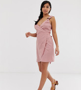 Asos DESIGN Petite linen wrap mini sundress with wooden rings