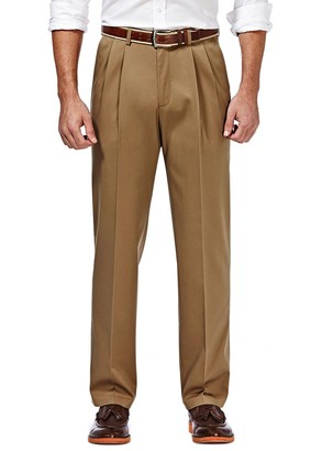 Haggar Mens Premium No-Iron Khaki Stretch Classic-Fit Pleated Expandable Waist Pants