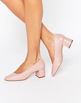 Faith Cassidy Nude Leather Mid Heeled Shoes