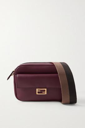 Fendi Baguette Canvas-trimmed Leather Shoulder Bag - Burgundy