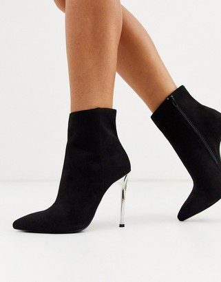 London Rebel stiletto pointed boots in black