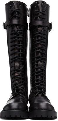Ann Demeulemeester SSENSE Exclusive Black Foil Scrub Lace-Up Boots