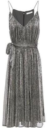 Halston Belted Metallic Textured Knitted Mini Dress