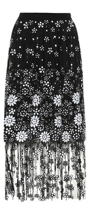Self-Portrait Floral sequined tulle skirt