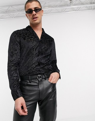 ASOS DESIGN regular fit paisley burnout shawl collar shirt in black