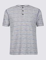 M&S Collection Pure Cotton Striped Crew Neck T-Shirt