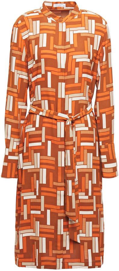 Equipment Roseabelle Belted Printed Washed-crepe Shirt Dress