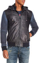 Desigual Faux Leather Hooded Bomber Jacket