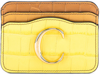 Chloé Tricolor Embossed Croc Card Case in Joyful Yellow   FWRD