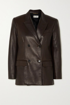 Saint Laurent Double-breasted Leather Blazer - Brown