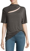 IRO Osland Slit-Front Short-Sleeve Top, Gray