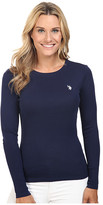 U.S. Polo Assn. Long Sleeve Crew Neck 1X1 Baby Rib T-Shirt