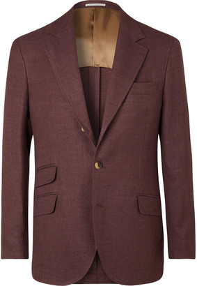 Brunello Cucinelli Beige Slim-fit Unstructured Linen, Wool And Silk-blend Hopsack Blazer - Burgundy