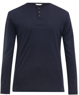 King & Tuckfield - Grandad Long-sleeved Merino Wool Henley Top - Mens - Navy