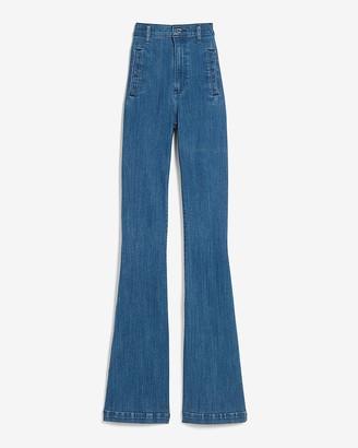 Express Super High Waisted Dark Wash Slim Flare Jeans