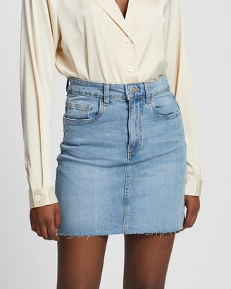 Cotton On Women's Blue Denim skirts - Classic Stretch Denim Mini Skirt - Size 6 at The Iconic