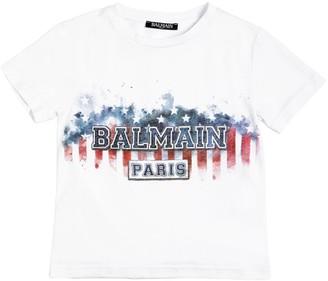 Balmain American Logo Cotton Jersey T-shirt