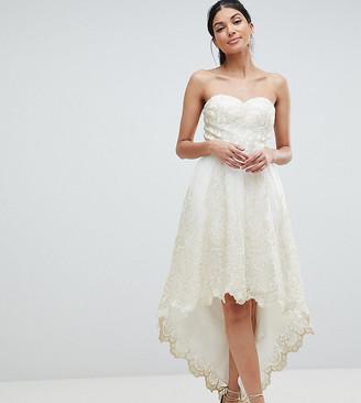 Bardot Chi Chi London Tall Premium Lace Prom Dress with Extreme High Low Hem-Cream