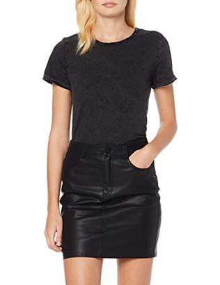 Noisy May NOS DE Women's Nmnaya Nate S/s Washed Top Noos T-Shirt, Black Detail, 10 (Size: )
