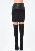 Bebe Mix Fabric Stitched Skirt
