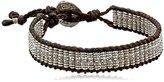 M.Cohen Handmade Designs Big Sterling Silver Stamped Beads On Brown Wax Linen Bracelet